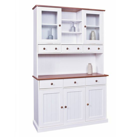 Westerland 5 Door Display Cabinet In White And Oak With 6 Drawer