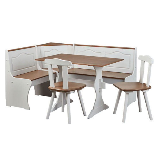 Westerland Corner Bench Dining Set In White And Oak With 2 Chair_2