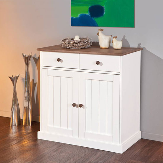 Westerland FSC 2 Doors Sideboard In White And Oak With 2 Drawers