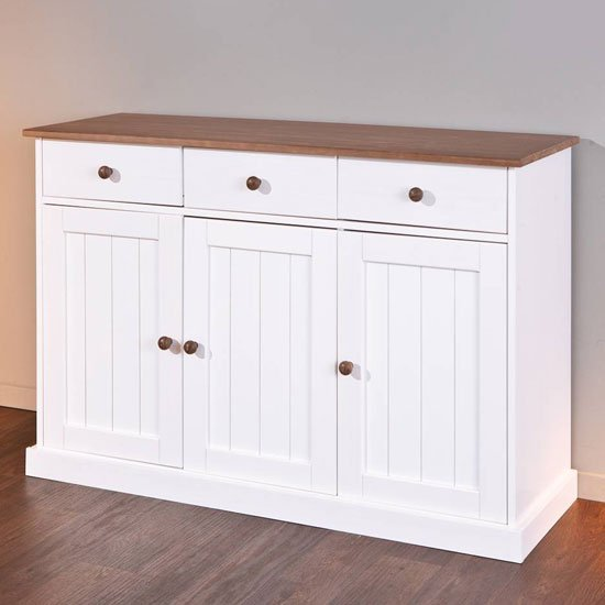 Westerland FSC 3 Doors Sideboard In White And Oak With 3 Drawers_2