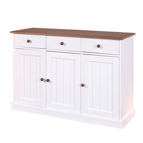 Westerland FSC 3 Doors Sideboard In White And Oak With 3 Drawers_3