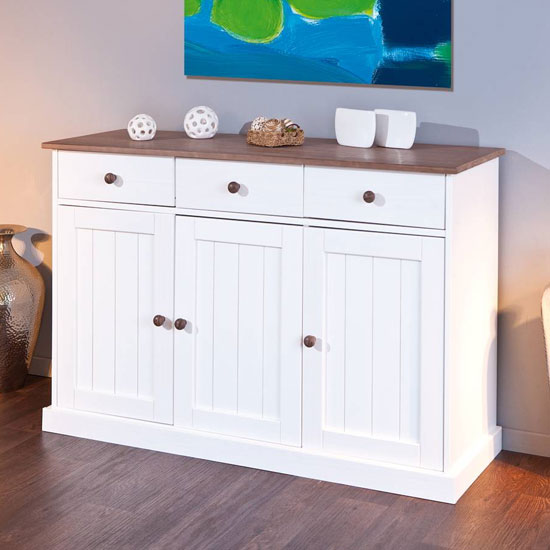 Westerland FSC 3 Doors Sideboard In White And Oak With 3 Drawers_1