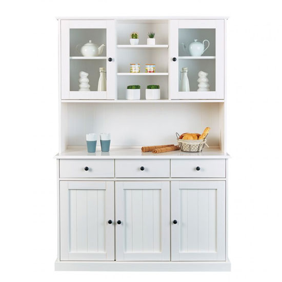 Westerland FSC 5 Doors Display Cabinet In White With 3 Drawers