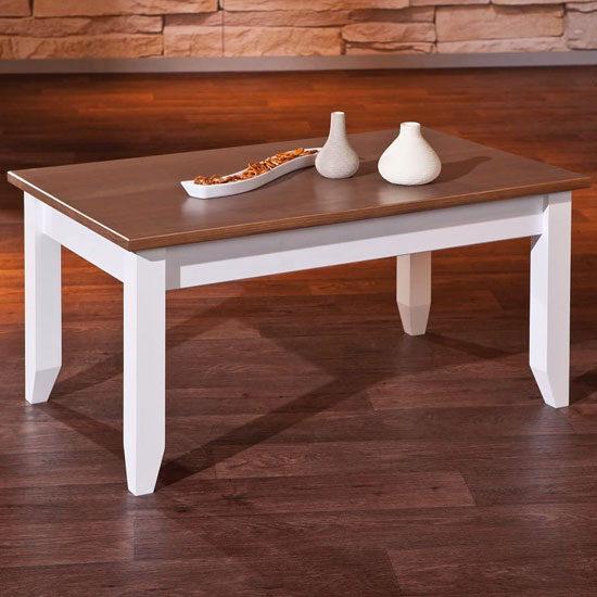 Westerland FSC Wooden Coffee Table In White And Brown