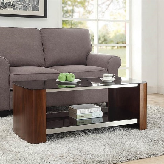 Westin Coffee Table In Black Glass And Walnut With