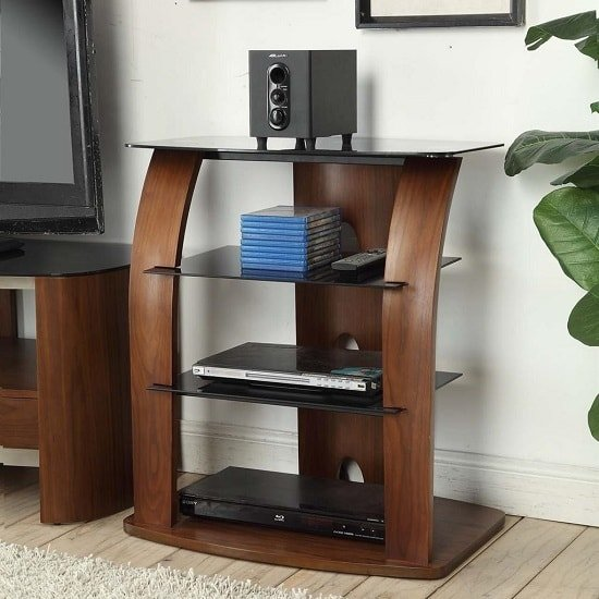 Westin Contemporary Entertainment Unit In Black Glass And Walnut