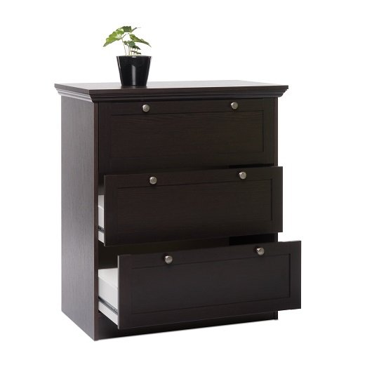 Weston Chest Of Drawers In Darkwood With 3 Drawers_4
