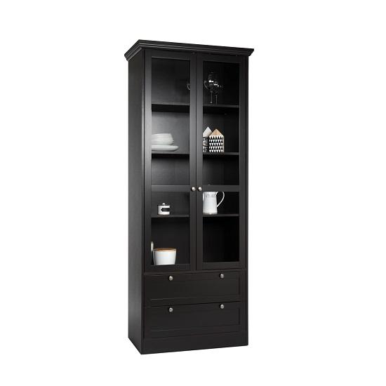 weston glass display cabinet in darkwood with 2 doors