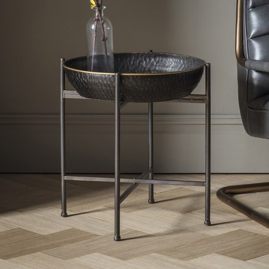 Westone Round Metal Side Table In Black