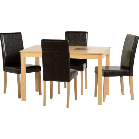 Bexford Wooden Dining Set And 4 Rustic Black G3 Chairs