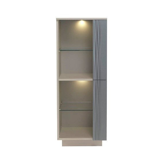Wexford Low Display Cabinet In Matt Grey And Taupe With Lighting