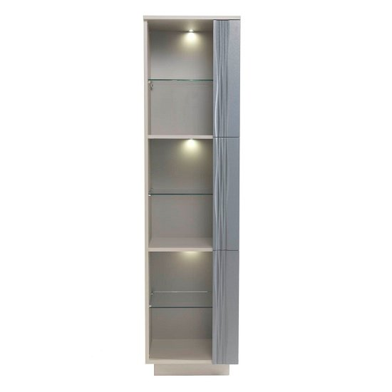 Wexford Tall Display Cabinet In Matt Grey And Taupe With Lights_2