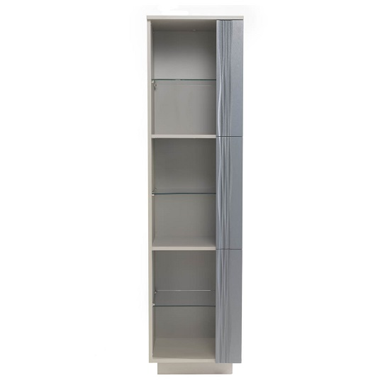 Wexford Tall Display Cabinet In Matt Grey And Taupe With Lights_4