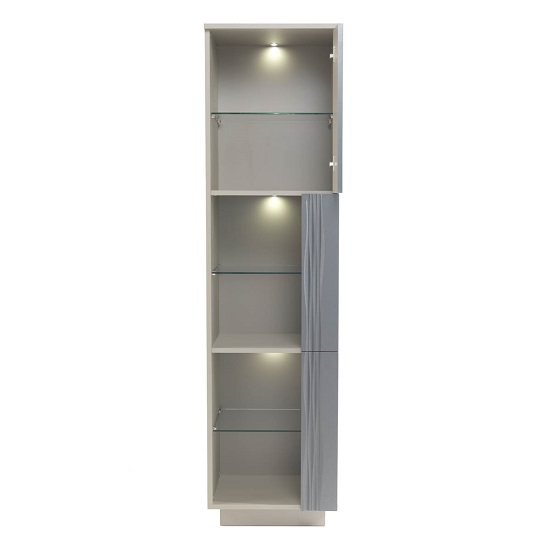 Wexford Tall Display Cabinet In Matt Grey And Taupe With Lights_3