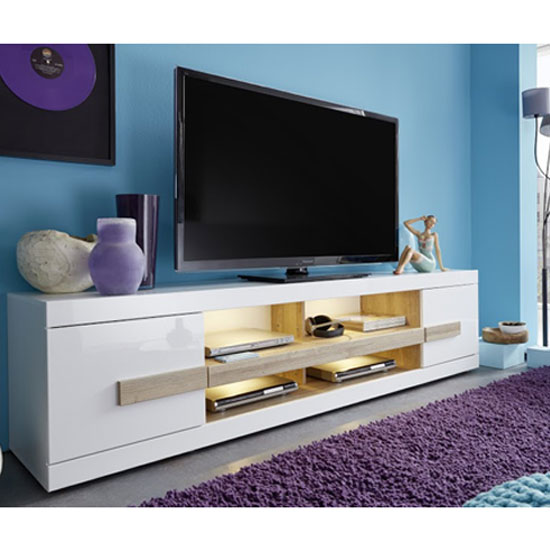 Wexford TV Stand In White High Gloss Fronts And Oak With LED