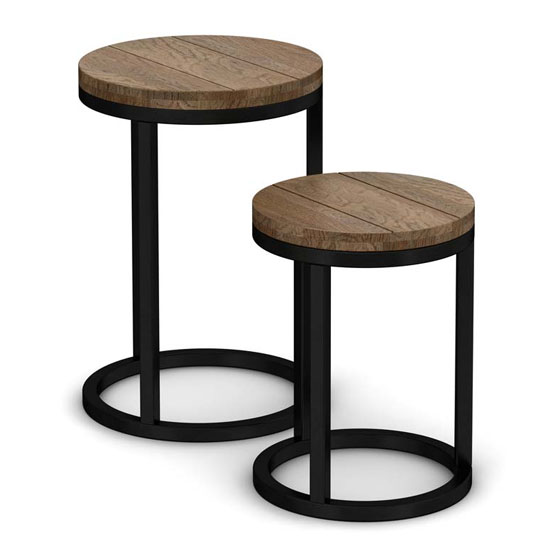 Veto Circular Nesting Tables In Chunky Oak With Metal Frame_2