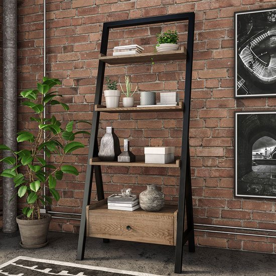 Veto Ladder Display Unit In Chunky Oak With Black Metal Frame