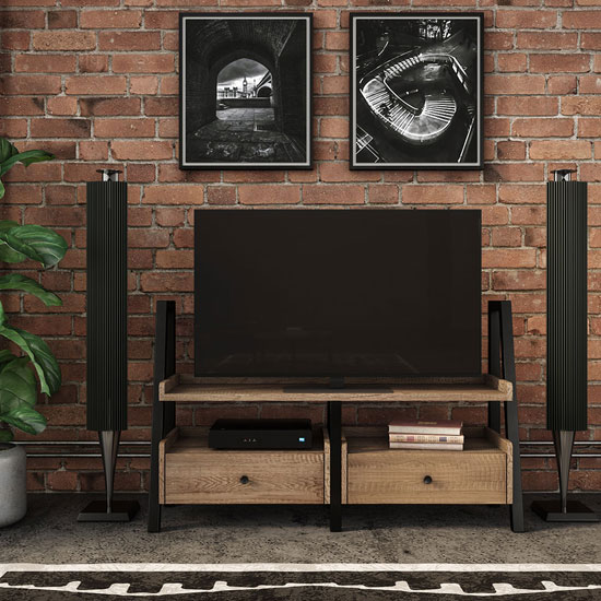 Veto TV Display Unit In Chunky Oak With Black Metal Frame