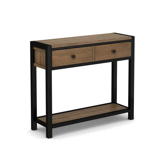 Veto Wooden Console Table In Chunky Oak With Black Metal Frame_2