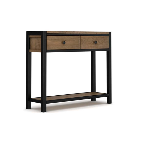 Veto Wooden Console Table In Chunky Oak With Black Metal Frame_3