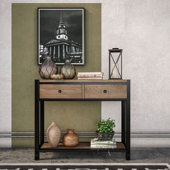 Veto Wooden Console Table In Chunky Oak With Black Metal Frame_1
