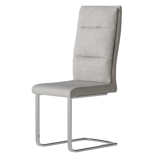 Whipton Faux Leather Dining Chair In Antique Light Grey In Pair_2