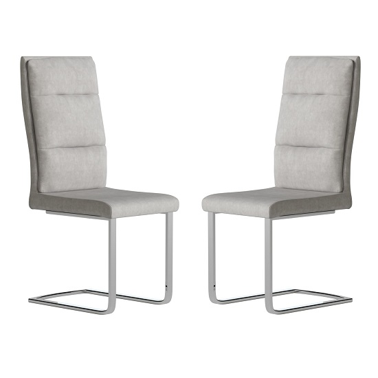 Whipton Faux Leather Dining Chair In Antique Light Grey In Pair
