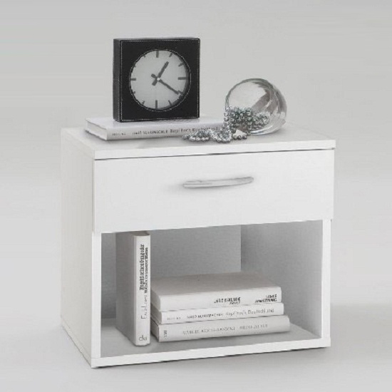 White Bedside Table jonny bedside cabinet in white with 1 drawer 3776 furniture