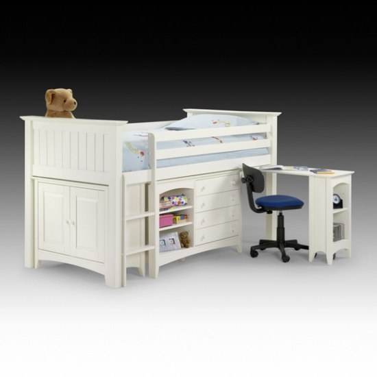 white bunk bed sleep station desk - Decorating Kids Bedroom Is All About Fun