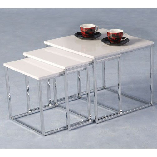 Stefan High Gloss White Nesting Tables