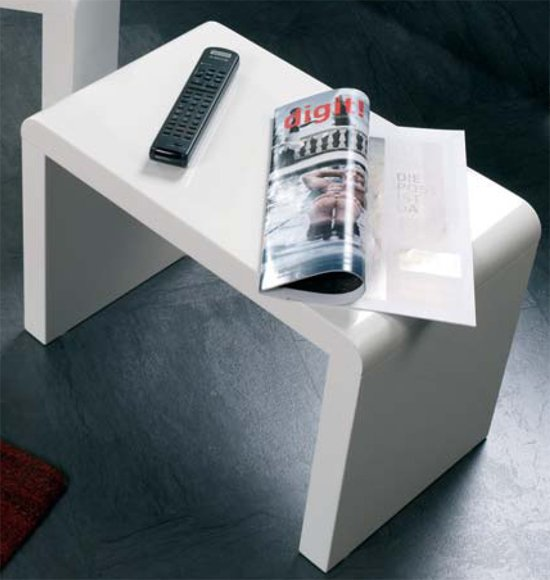 White High Gloss End Table