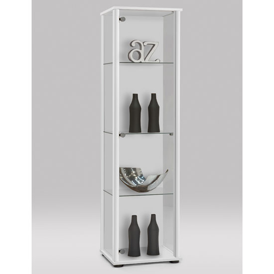 Amazing Marine Modern Glass Display Cabinet In White With Glass Shelves Part 25