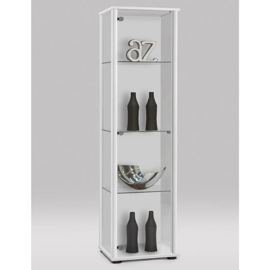 marine modern glass display cabinet in white with glass shelves