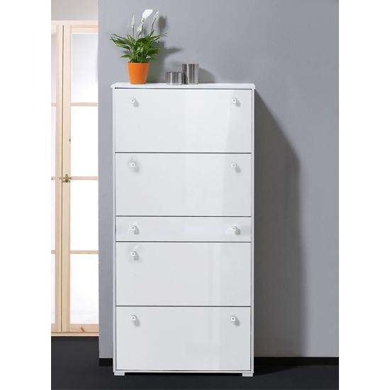 Milano hi gloss white shoe storage cabinet 8661 11 ebay for Kitchen cabinets 50cm wide