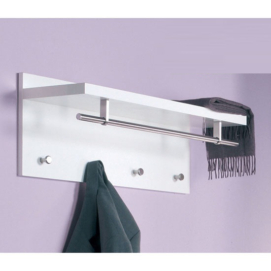 Pablo white wall mounted coat rack in high gloss with shelf - Etagere porte manteau ...