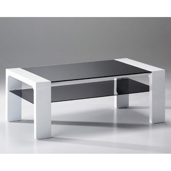 Jake Black Glass Coffee Table with Undershelf