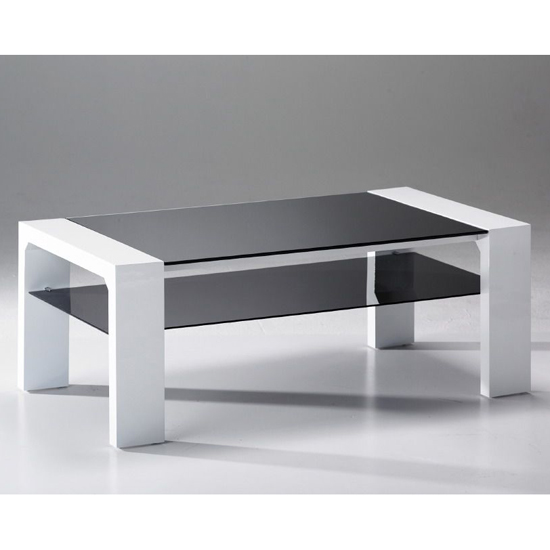 Jake Black Glass Coffee Table with Undershelf