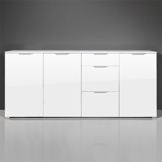 Event Large Buffet Sideboard In High Gloss White With 3 Doors