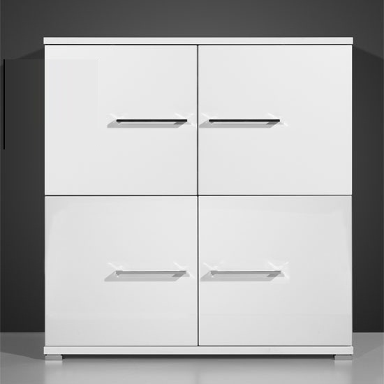 Cool Sideboard In High Gloss White With 4 Doors