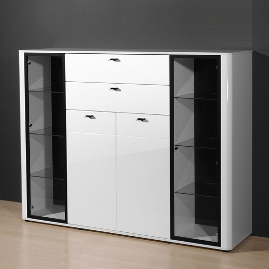 Monza High Gloss Tall Sideboard In White With Glass Shelves