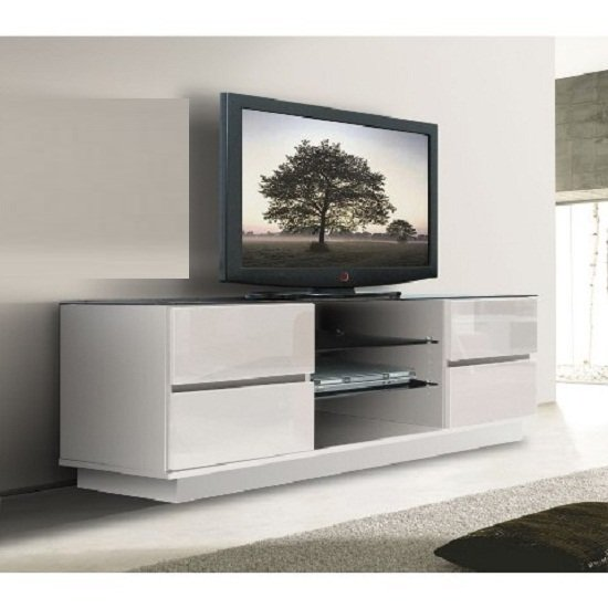 plasma lcd tv stand in white with gloss drawers 3543. Black Bedroom Furniture Sets. Home Design Ideas