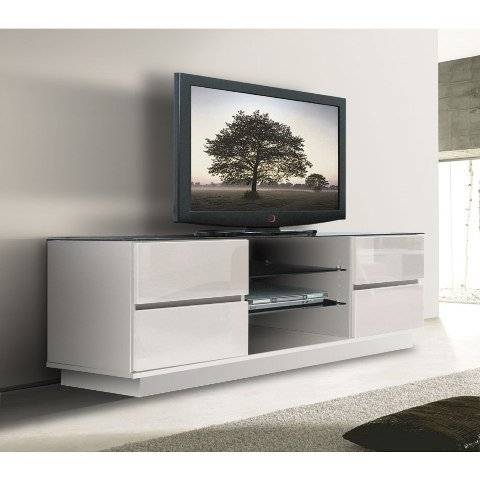 Celebrate the freedom to relax and spend quality time with friends watching  TV placed over this modern plasma that comes in white gloss finish. The  stand ...