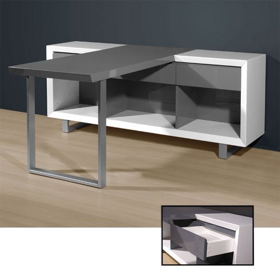 white grey gloss desk 4026 158 - Computer Desks For Multiple Monitors, Designs And Materials