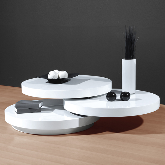 Genesis White High Gloss Round Swiveling Coffee Table High Gloss Coffee Tables Black White