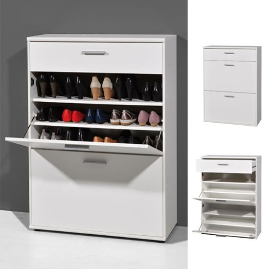 Foot Wooden Shoe Storage Cabinet In White