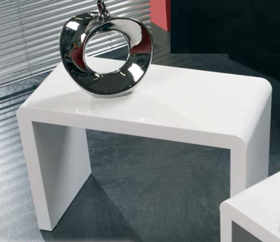White High Gloss Side And Coffee Table