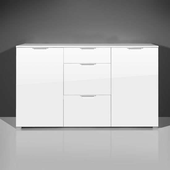 Event Modern Sideboard In Gloss White With 2 Doors And 3 Drawers