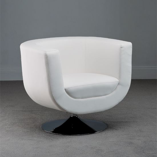 swivel white faux leather tub chair 18587 furniture 18587
