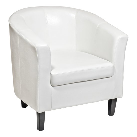 Weston White Faux Leather Tub Chair FW537W