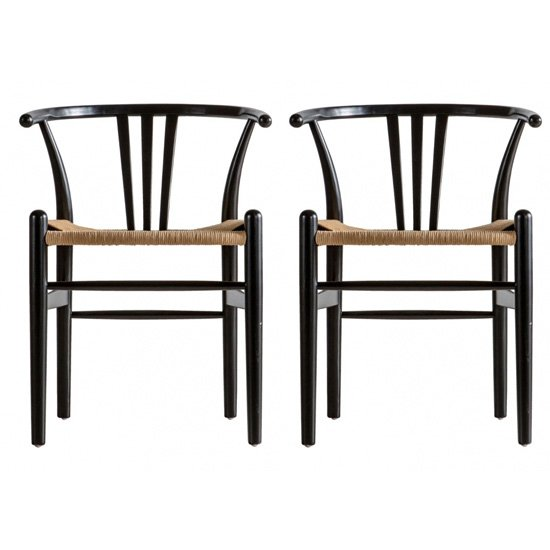 Whitley Black Wooden Dining Chairs In Pair